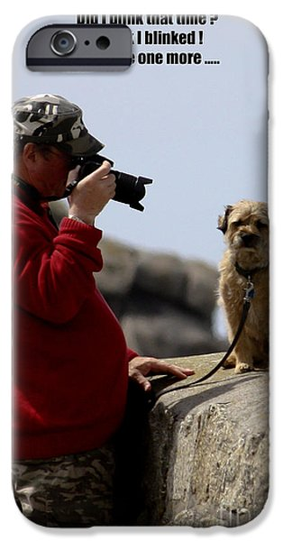 Dog Close-up iPhone Cases - Dog Being Photographed iPhone Case by Terri  Waters