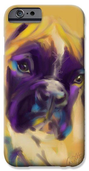 Boxer Digital iPhone Cases - Dog boxer Bobby iPhone Case by Go Van Kampen