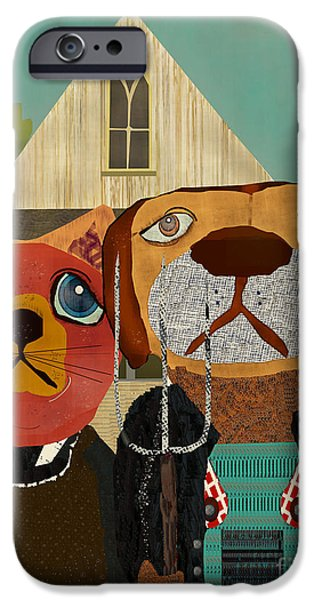 Canine Prints Digital iPhone Cases - Dog Cat Gothic  iPhone Case by Bri Buckley