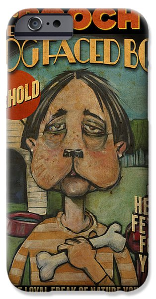 Doghouse iPhone Cases - Dog Faced Boy Poster iPhone Case by Tim Nyberg