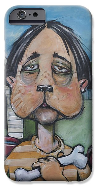 Doghouse iPhone Cases - Dog Faced Boy iPhone Case by Tim Nyberg