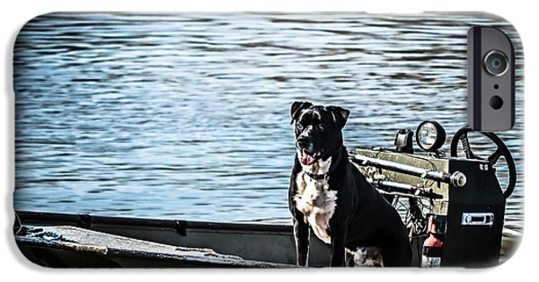 Dog In Landscape Photographs iPhone Cases - Dog Gone Fishing iPhone Case by Peggy  Franz