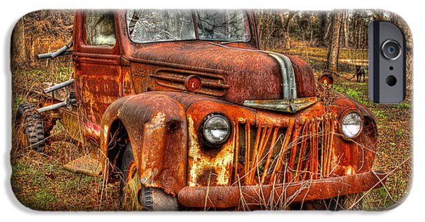 Black Dog iPhone Cases - Dog Gone Old Rusty Ford Truck iPhone Case by Reid Callaway