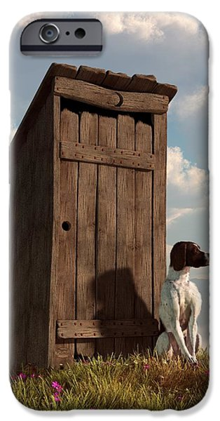 Breed Digital Art iPhone Cases - Dog Guarding An Outhouse iPhone Case by Daniel Eskridge