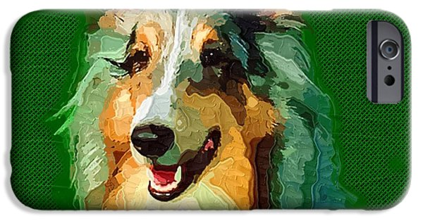 Cut-outs Paintings iPhone Cases - Dog on Green iPhone Case by Victor Gladkiy