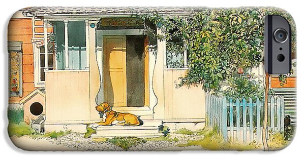 Doghouse iPhone Cases - Dog on the Front Step iPhone Case by Larsson