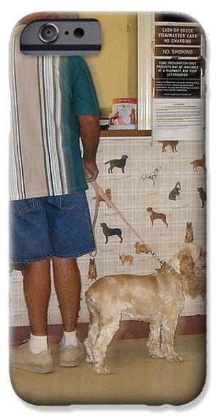 Dog owner dog vet's office Casa Grande Arizona 2004 iPhone Case by David Lee Guss