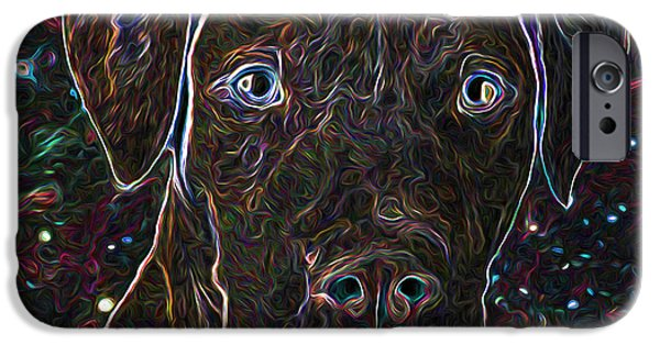 Dog Close-up Paintings iPhone Cases - Dog portrait iPhone Case by Lanjee Chee