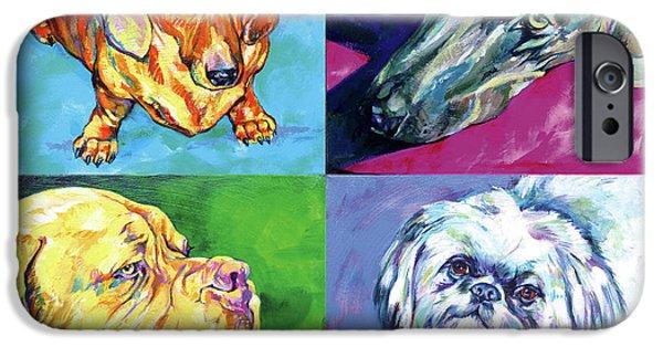 Vivid Colour Paintings iPhone Cases - Dog quartet iPhone Case by Derrick Higgins