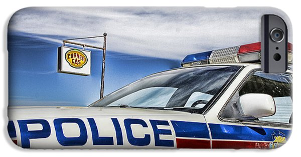 Police Cruiser iPhone Cases - Dog River Police Car iPhone Case by Nicholas Kokil