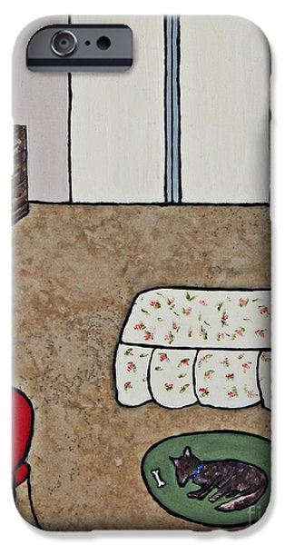Furniture Ceramics iPhone Cases - Essence of Home - Dog Sleeping On Bedroom Rug iPhone Case by Sheryl Young
