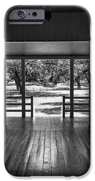 Dog Trots Photographs iPhone Cases - Dog Trot at LBJ Birthplace BW iPhone Case by Joan Carroll