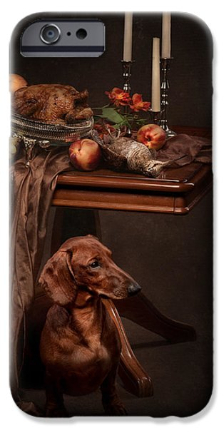 With Pyrography iPhone Cases - Dog under the table iPhone Case by Tanya Kozlovsky