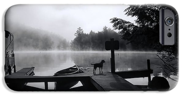 Black Dog iPhone Cases - Dog - Waiting For Her - Luther Fine Art iPhone Case by Luther  Fine Art