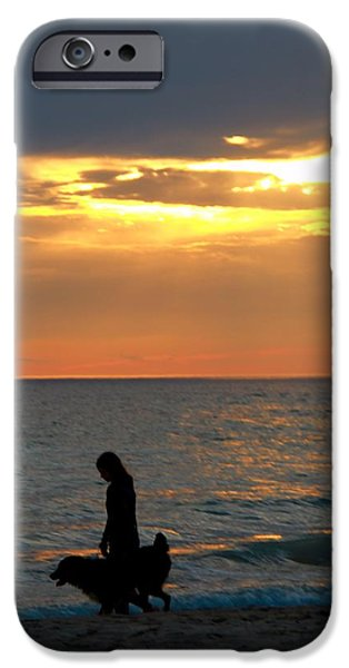 The Best Sunset iPhone Cases - Dog Walk At Sunset On The Beach iPhone Case by Dan Sproul