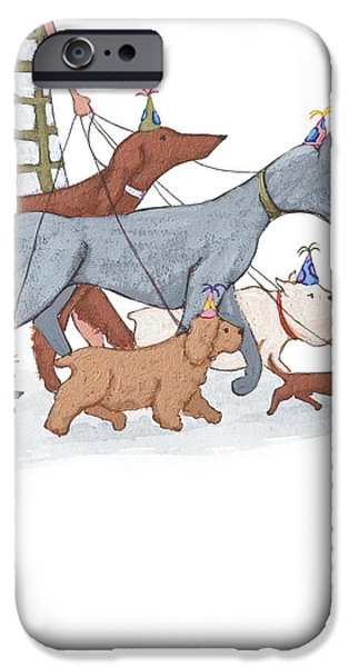 Dogs iPhone Cases - Dog Walker iPhone Case by Christy Beckwith