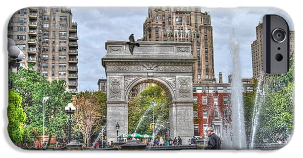 Recently Sold -  - Village iPhone Cases - Dog Walking at Washington Square Park iPhone Case by Randy Aveille