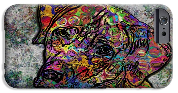 Dog Abstract Art iPhone Cases - Dog With Color iPhone Case by Jack Zulli
