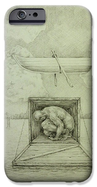 Religious Drawings iPhone Cases - Dogma iPhone Case by James  Andrews