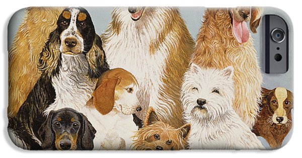 Beagles iPhone Cases - Dogs Dinner Oil On Canvas iPhone Case by Pat Scott