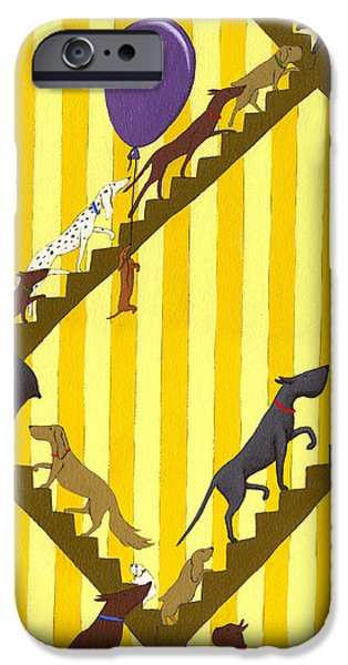 Dogs Going Up Stairs iPhone Case by Christy Beckwith