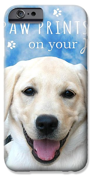 Dogs leave paw prints on your heart iPhone Case by Li Or