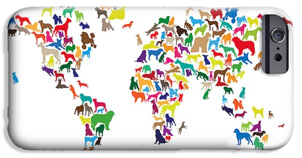 World Map Poster Digital Art iPhone Cases - Dogs Map of the World Map iPhone Case by Michael Tompsett