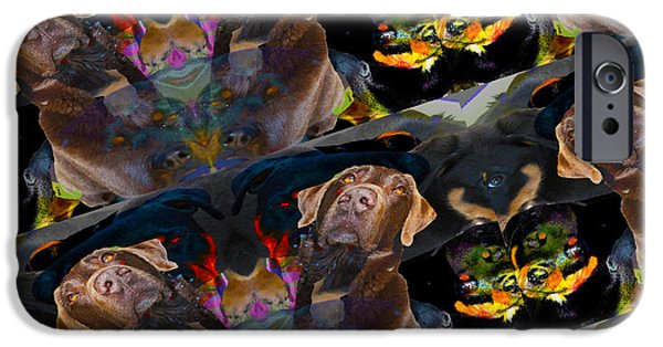 Chocolate Lab Digital Art iPhone Cases - Dogs iPhone Case by Mayhem Mediums