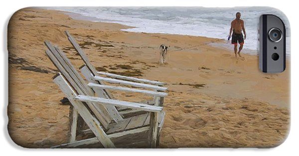 Adirondack Chairs On The Beach iPhone Cases - Dogs On The Beach iPhone Case by Alice Gipson