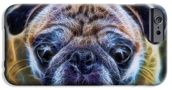 Counterculture iPhone Cases - Dogs - The Psychedelic Fantasy Pug iPhone Case by Lee Dos Santos