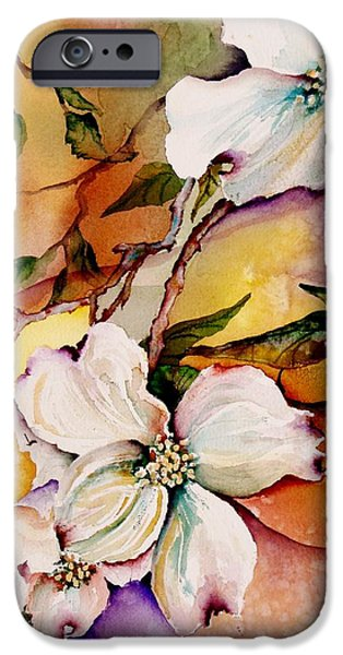 Tropical Paintings iPhone Cases - Dogwood in Spring Colors iPhone Case by Lil Taylor
