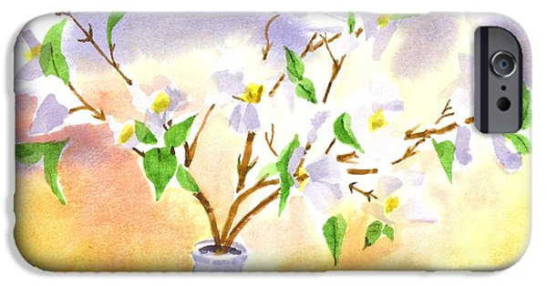 Business Paintings iPhone Cases - Dogwood in Watercolor iPhone Case by Kip DeVore