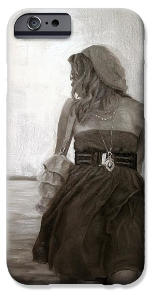 Contemplative Paintings iPhone Cases - Dolce Breeza iPhone Case by Alison Schmidt Carson