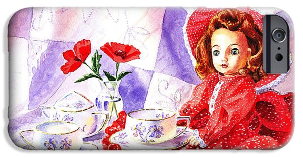 Tea Party iPhone Cases - Doll At The Tea Party  iPhone Case by Irina Sztukowski