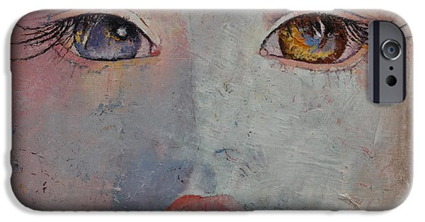Creepy Paintings iPhone Cases - Baby Doll iPhone Case by Michael Creese