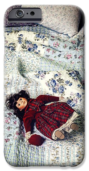 Porcelain Doll iPhone Cases - Doll On Bed iPhone Case by Joana Kruse