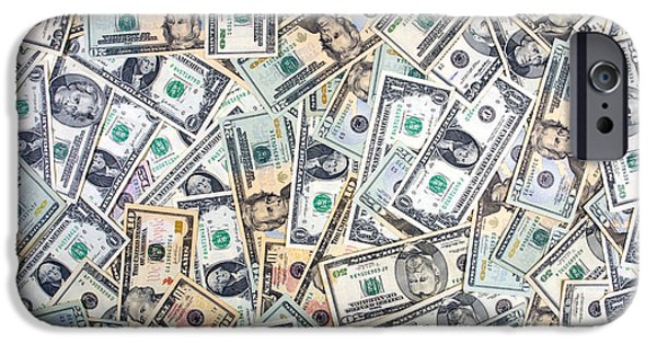 Finance iPhone Cases - Dollar Background iPhone Case by Olivier Le Queinec