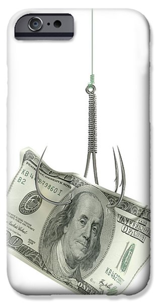 Business Digital iPhone Cases - Dollar Banknote Baited Hook iPhone Case by Allan Swart