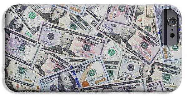 Finance iPhone Cases - Dollar Bills iPhone Case by Tim Gainey