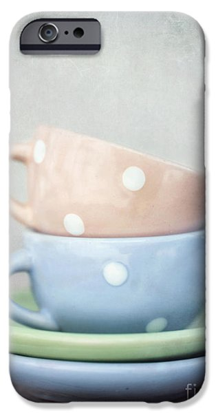 Coffee Drinking iPhone Cases - Dolls China iPhone Case by Priska Wettstein
