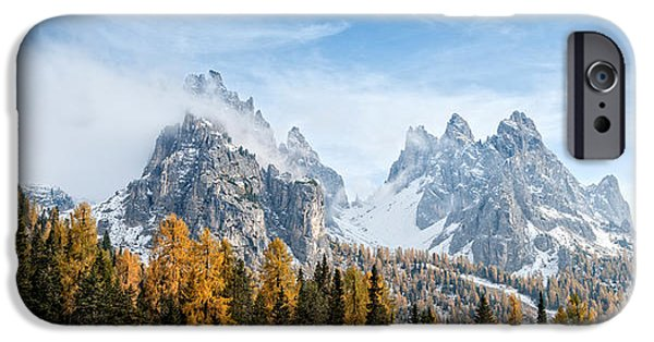 Mountain iPhone Cases - Dolomite Mountains In Fall, Toblach iPhone Case by Panoramic Images