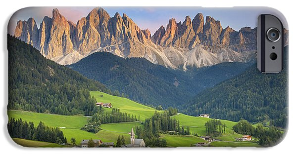 Chapels iPhone Cases - Dolomites from Val di Funes iPhone Case by Brian Jannsen