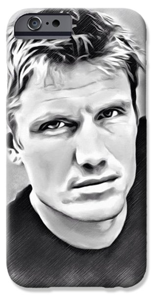 Stallone Digital Art iPhone Cases - Dolph Lundgren Sketch iPhone Case by Scott Wallace