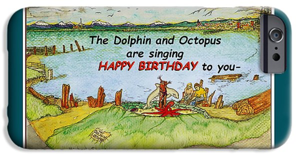 Missing Child iPhone Cases - Dolphin and Octopus Singing Happy Birthday iPhone Case by Michael Shone SR