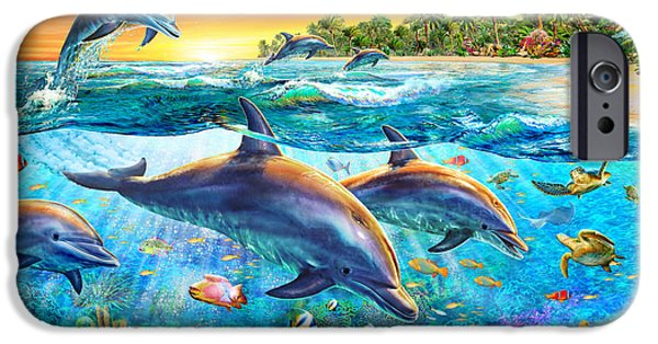 Ocean Sunset iPhone Cases - Dolphin Bay iPhone Case by Adrian Chesterman