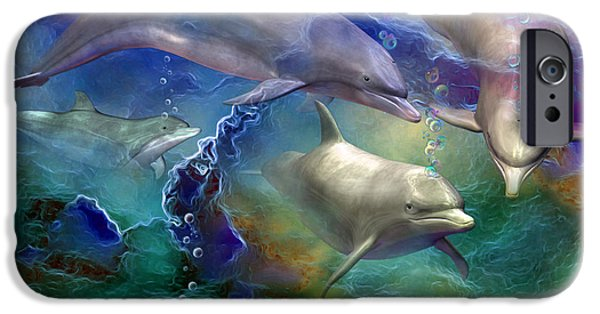 Giclee Mixed Media iPhone Cases - Dolphin Dream iPhone Case by Carol Cavalaris