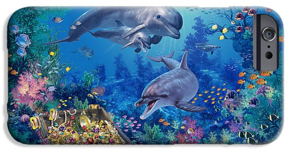 Marine iPhone Cases - Dolphin Family Variant iPhone Case by Steve Read