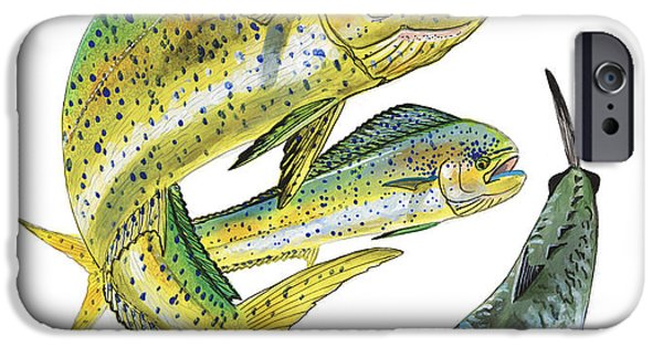 Vikings Paintings iPhone Cases - Dolphin Kingfish iPhone Case by Carey Chen