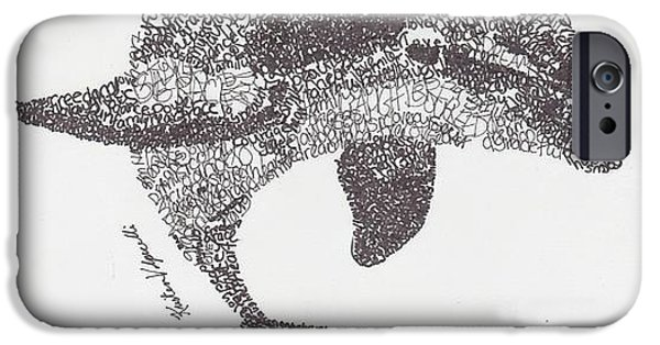 Animal Drawings iPhone Cases - Dolphin iPhone Case by Michael  Volpicelli