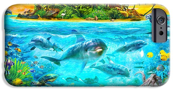 Recently Sold -  - Summer iPhone Cases - Dolphin Paradise Island iPhone Case by Jan Patrik Krasny